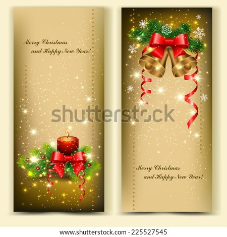 Christmas backgrounds with  branches of  spruce and decorative elements - stock vector