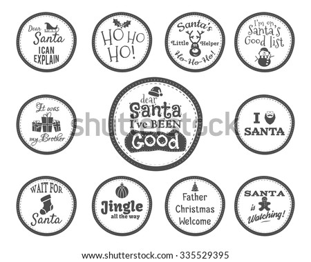 Christmas Badge and Design Elements with funny signs, quotes for kids. Monochrome New Year labels, holiday elements collection isolated on white background. Vector illustration - stock vector