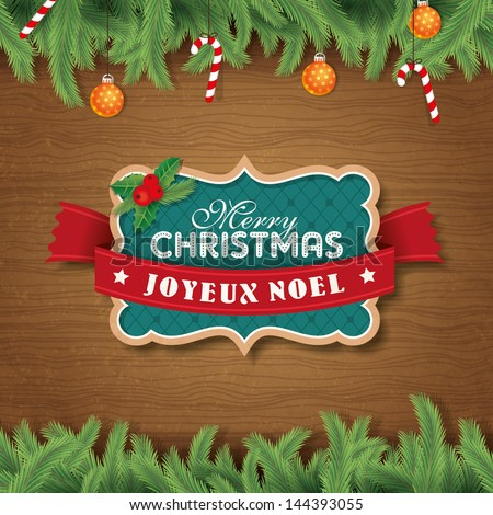 Christmas badge/ label with wood texture background - stock vector
