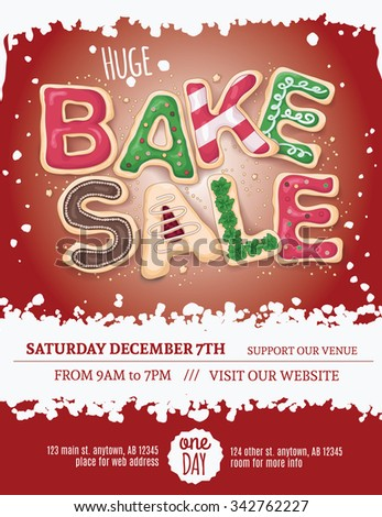 Christmas Bake Sale Flyer Template Hand Stock Vector 342762227