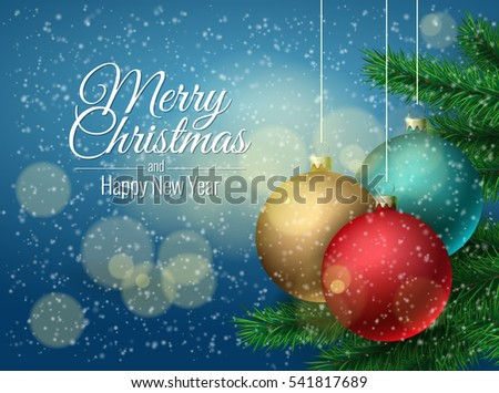 Christmas ball and Christmas tree. Background template greeting card. Vector illustration.