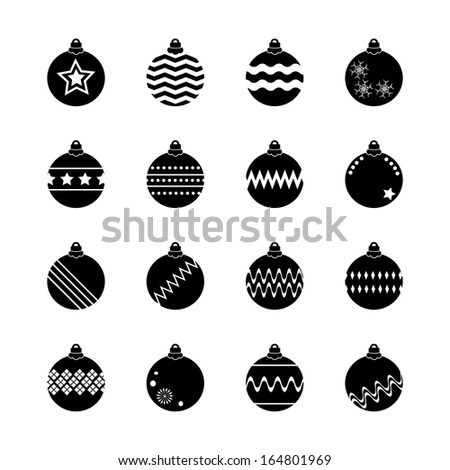 Christmas ball, christmas bauble  icons set - stock vector