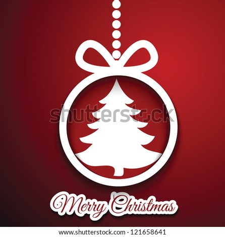 Christmas ball cut from paper on red background. Vector eps10 illustration for your design. - stock vector