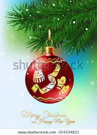 Christmas ball decorated with glitter ornament on fir branch - stock vector