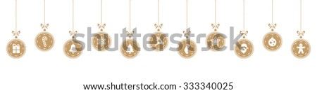 christmas ball elements gold isolated background - stock vector