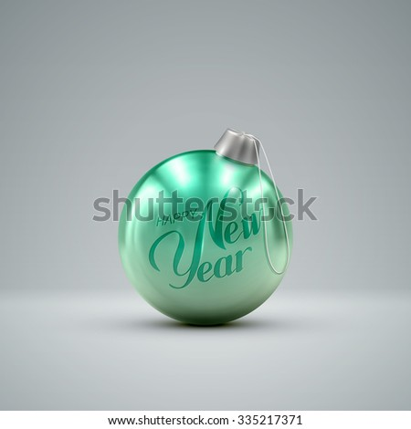 Christmas ball. Holiday vector illustration of traditional festive Xmas bauble. Merry Christmas and Happy New Year greeting card design element.  - stock vector