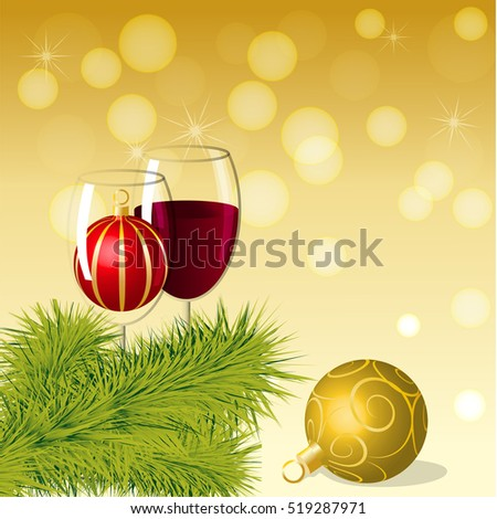 Christmas ball in wineglass