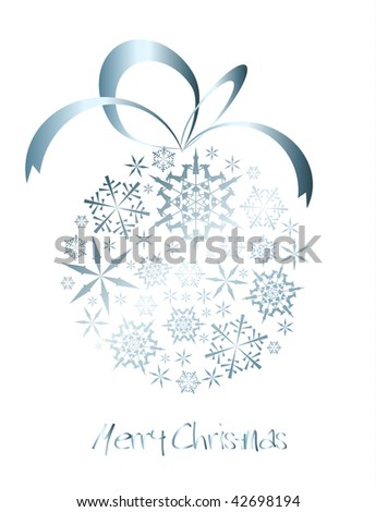 Christmas ball made from silver snowflakes on a white background (vector) - stock vector