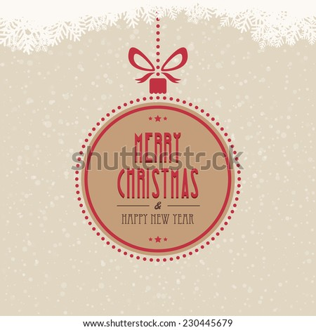 christmas ball merry christmas snowflakes background - stock vector