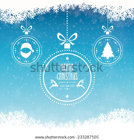 christmas ball merry christmas snowflakes blue background - stock vector