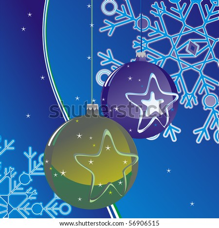 christmas ball on abstract background with snowflake 	 	,xmas background with holidays symbol , vector editable