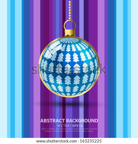 Christmas ball ornament with Christmas tree on purple striped background. With room for text.  Vector EPS 10 illustration.
