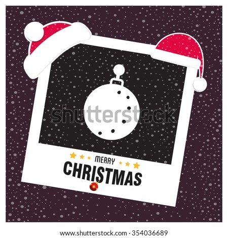 Christmas Ball Ornaments card Design. photo frame with Santa Claus Hat and creative typography in footer on glowing Vector background - stock vector