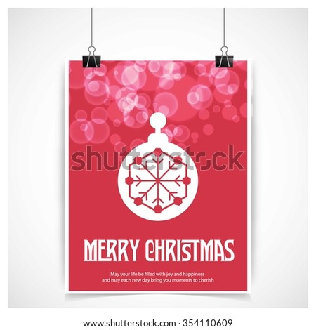 Christmas Ball Ornaments card Design, Red glossy background hanging poster template with merry Christmas typography - stock vector