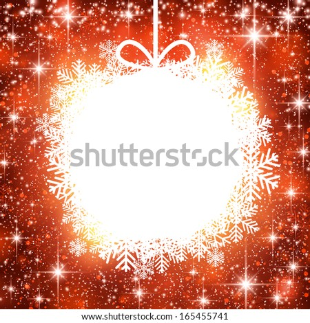 Christmas ball over red winter abstract background. Vector illustration with snowflakes and sparkles.  - stock vector