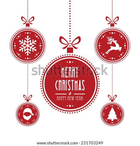 christmas ball red isolated background - stock vector