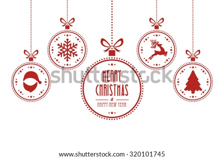 christmas ball red white isolated background - stock vector