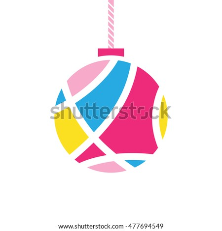 christmas ball symbol, vector illustration
