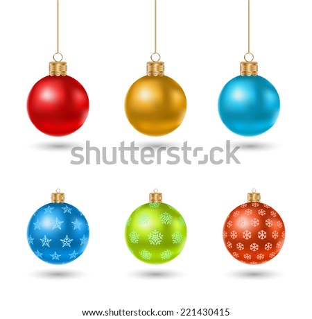 christmas ball toy icon design set - stock vector