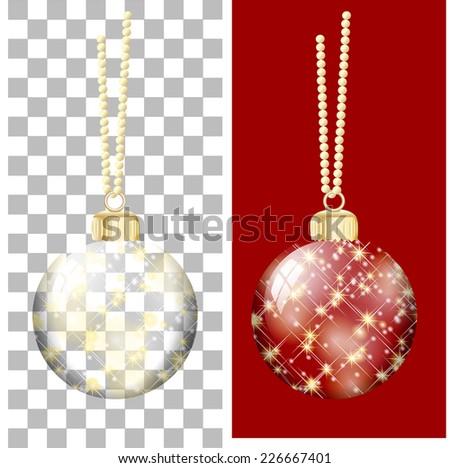 christmas ball transparent - stock vector