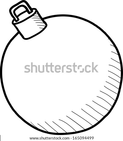 Christmas ball white sketch isolated