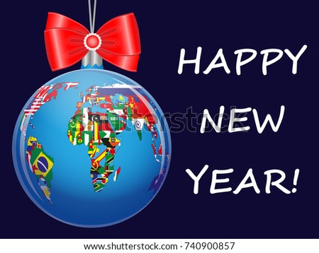 Christmas ball political map world new stock vector 740900857 christmas ball with a political map of the world new year greetings on a gumiabroncs Images