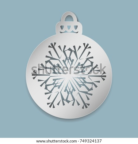 Christmas Ball Snowflake Cut Out Paper Stock Vector 749324137 ...