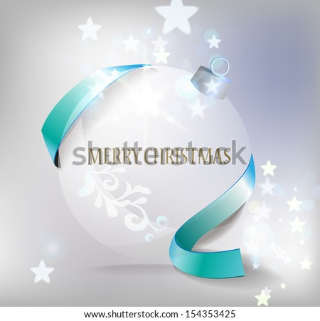 Christmas ball with blue ribbon on shiny background with blue ribbon. Eps 10 - stock vector