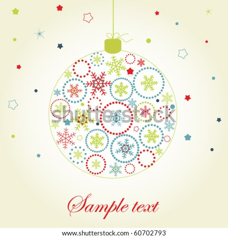 Christmas ball with bright elements - stock vector