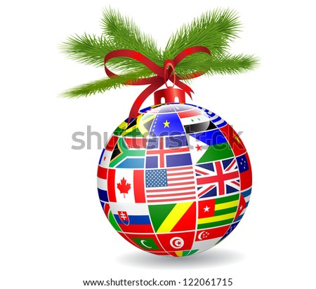 Christmas ball with international flags globe.Vector - stock vector