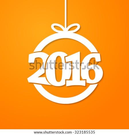 Christmas ball with 2016 new year. Vector illustration. - stock vector