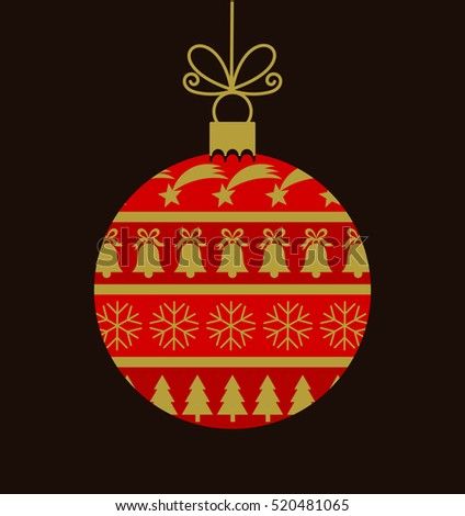 Christmas ball with ornament pattern illustration
