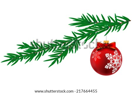 Christmas ball with snowflake and pine tree isolated on white background. Vector Illustration. - stock vector
