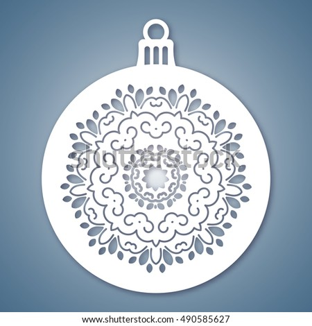 Christmas Ball Snowflake Laser Cutting Template Stock Vector ...