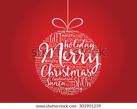 Christmas ball word cloud, holidays lettering collage - stock vector