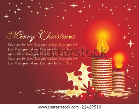 christmas balls and candles, red vector