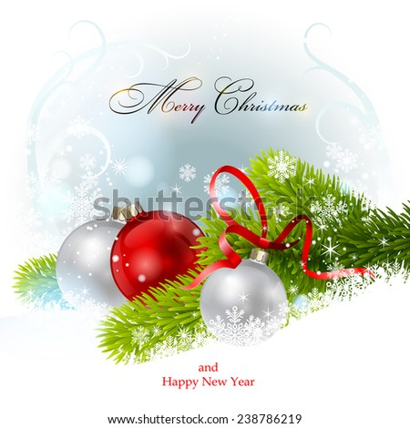Christmas balls and fir branch. Vector  EPS 10. - stock vector