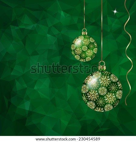 Christmas balls and ribbons on abstract triangles vector background in green tones.