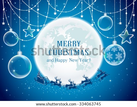 Christmas balls and Santa on Moon background, illustration. - stock vector