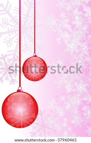 Christmas balls and snowflakes background-vector file