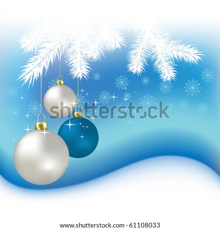 Christmas balls and snowflakes on a blue background