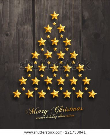 Christmas Balls and Stars. Xmas Decorations. Wood Texture Background. Vector. - stock vector