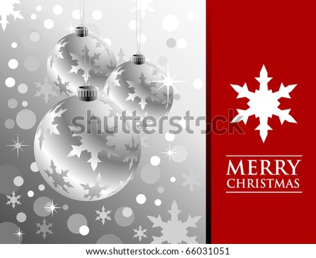 Christmas balls are hanging on a silver background with snowflakes and circles for snow. The right side is copyspace text for a card or greetings background.