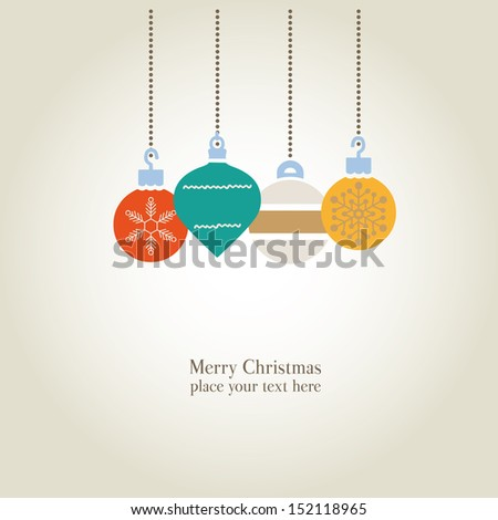 christmas balls cards - stock vector