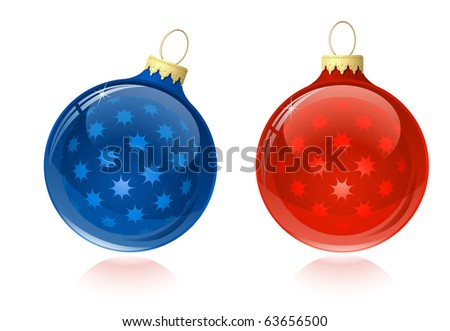 Christmas balls. Christmas baubles with reflection. - stock vector