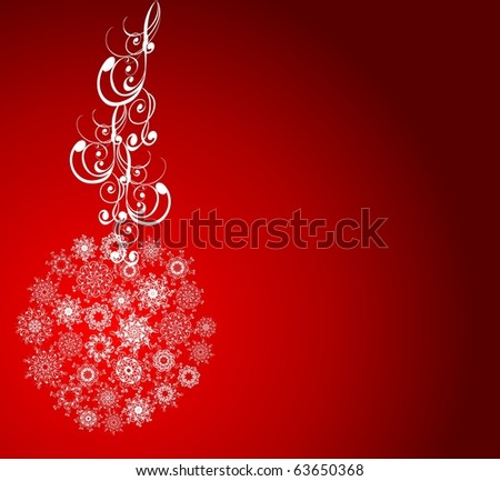 Christmas balls covered with snowflakes on red background. Vector illustration
