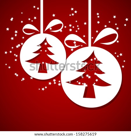 Christmas balls (cut the paper) with happy New Year and merry xmas concept. Vector Illustration - stock vector