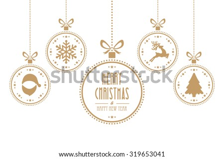 christmas balls hanging gold isolated background - stock vector