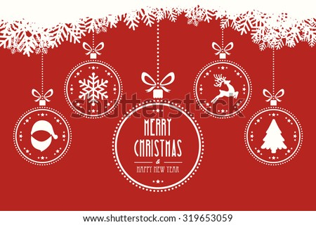 christmas balls hanging red background - stock vector