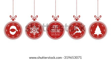 christmas balls hanging red isolated background - stock vector